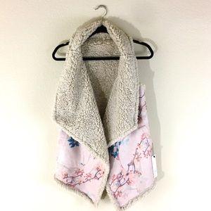 BB Dakota women floral suede reversible vest S